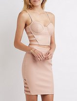 Charlotte Russe Faux Leather Caged Bustier Crop Top