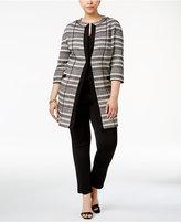 Anne Klein Plus Size Striped Jacquard Topper Jacket