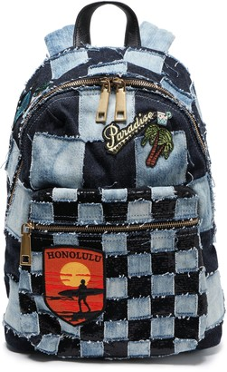 Marc Jacobs Patchwork-effect Frayed Embellished Denim Backpack