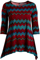 Glam Red & Dark Teal Zigzag Sidetail Tunic - Plus