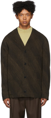 Lemaire Brown and Black Diagonal Print V-Neck Cardigan