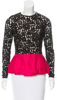 Michael Kors Satin-Trimmed Lace Blouse