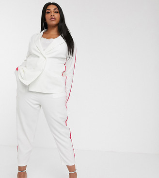 Lasula Plus cigarette trouser with pink piping in white