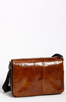 Bosca Men's Leather Messenger Bag - Brown