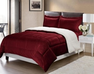 Cathay Home, Inc Ultimate Luxury Reversible Micromink and Sherpa Queen Bedding Comforter Set Bedding