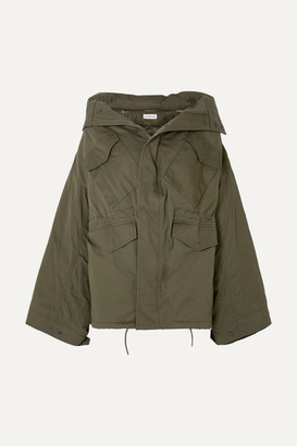Balenciaga Swing Oversized Hooded Cotton-twill Jacket - Army green