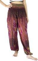 NaLuck Women's Boho Hippie Elephant Jumpsuit Smocked Waist Yoga Harem Pants PJ04-Crimson
