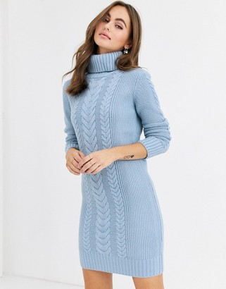 Pimkie cable knit roll neck jumper dress in blue