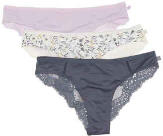 Jessica Simpson Lace Back Tanga Panties - Pack of 3