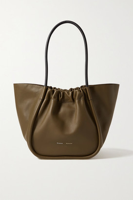 Proenza Schouler L Ruched Leather Tote - Army green