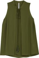 Melissa McCarthy Loden Green Tie-Front Swing Tank - Plus