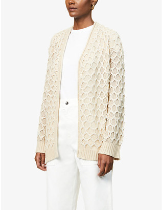 Theory Relief textured-pattern wool-blend cardigan