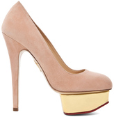 Charlotte Olympia Dolly Signature Court Island Suede Pumps in Blush