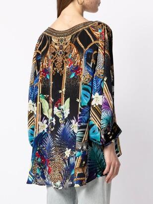Camilla Embroidered Shift Silk Blouse