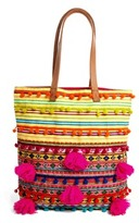 Asos Woven Shopper Bag With Beads And Pom Poms - Multi
