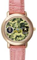 US Army Watch Gifts for girls or ladies Cool US Army Camouflage Pattern Pink Leather Alloy High-grade Watch