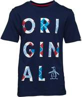 Original Penguin Boys Argyle Logo Jersey T-Shirt Blue Depths