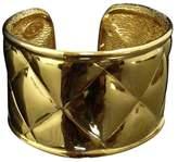 Chanel Gold-Tone Metal Coco Mark CC Logo Matelasse Thick Bangle Bracelet
