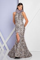 Terani Couture 1721E4114 Sleeveless High Neck Floral Mermaid Gown
