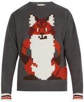 Maison Kitsuné Maison Kitsune - Pixel Intarsia Wool Sweater - Mens - Charcoal