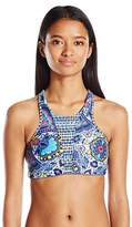 Body Glove Women's Free Spirit Reversible Leelo High Neck Cropped Bikini Top with Lace up Back