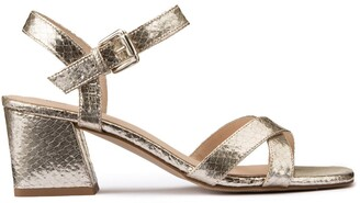 La Redoute Collections Leather Heeled Sandals in Metallic Snakeskin Effect