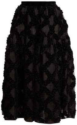 Cecilie Bahnsen Abby Floral-applique Silk-organza Midi Skirt - Black