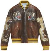 Gucci Leather bomber jacket with intarsia