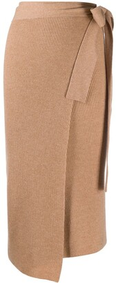 Cashmere In Love Ribbed-Knit Wrap Skirt