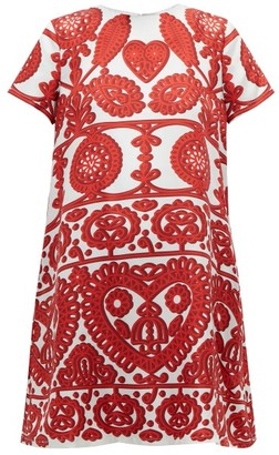 La DoubleJ Swing Embroidery-print Silk Dress - Red Multi