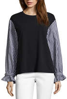 BELLE + SKY Long Sleeve Round Neck French Terry Blouse