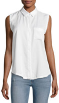 DL1961 N7TH & Kent Sleeveless Button-Down Top, White