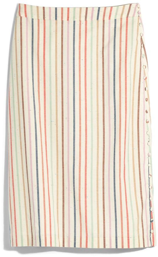Thumbnail for your product : Madewell Flecked Rainbow Stripe Button Slit Midi Skirt