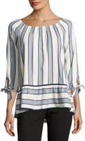 Neiman Marcus Boat-Neck Striped Blouse, Blue Pattern