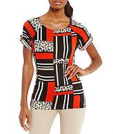 Calvin Klein Geometric Leopard Print Matte Jersey Short Roll-Tab Sleeve Top
