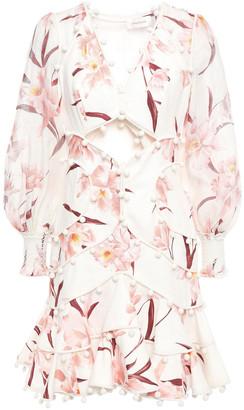 Zimmermann Pompom-embellished Floral-print Linen-gauze Mini Dress