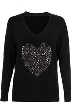 Quiz Black Sequin Heart Choker Detail Light Knit Top