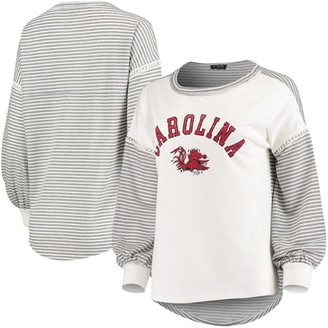Women's White South Carolina Gamecocks Line It Up Striped Bubble Long Sleeve T-Shirt