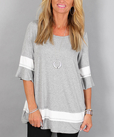 Easel Gray & White Bell Sleeve Top