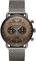 Emporio Armani AR11141 Men's Aviator Chronograph Date Mesh Bracelet Strap Watch, Gunmetal/Brown