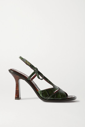 Sies Marjan Diana Two-tone Croc-effect Leather Slingback Sandals - Forest green