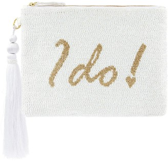 Monsoon Ines I Do Embellished Bridal Zip Top Clutch - Ivory