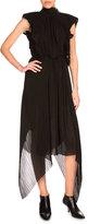Kenzo Plissé Chiffon Midi Dress, Black