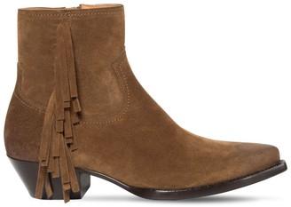 Saint Laurent 40mm Lukas Fringed Suede Boots