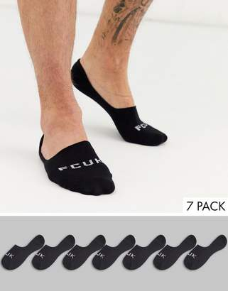 French Connection 7 pack invisible socks in black