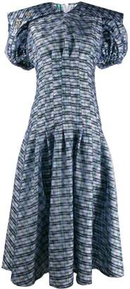 Chopova Lowena Plaid Puff-Sleeves Midi Dress