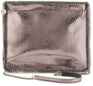 Stella McCartney Falabella Medium Metallic Crossbody Bag, Gray