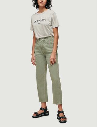 Whistles Slogan-print cotton-jersey T-shirt