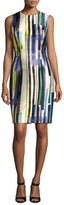 Carmen Marc Valvo Sleeveless Striped Twill Cocktail Dress, Multicolor