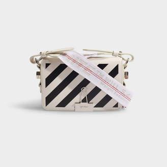 Off-White Off White Diag Mini Flap Bag In Black And White Calfskin